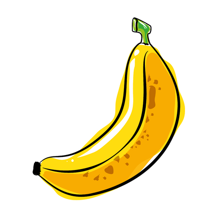 banana fruit icon over white background colorful design vector illustration