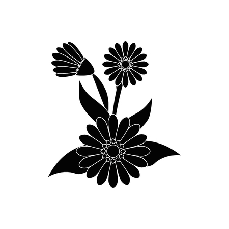 flowers and leaves icon over white background vector illustration Illusztráció