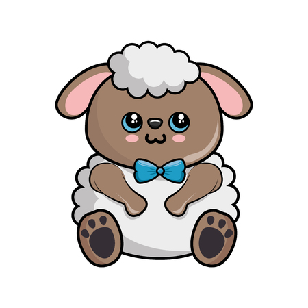 kawaii sheep icon over white background colorful design vector illustration