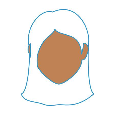 흰색 배경 위에 여자 얼굴 아이콘 화려한 디자인 벡터 일러스트 레이 션