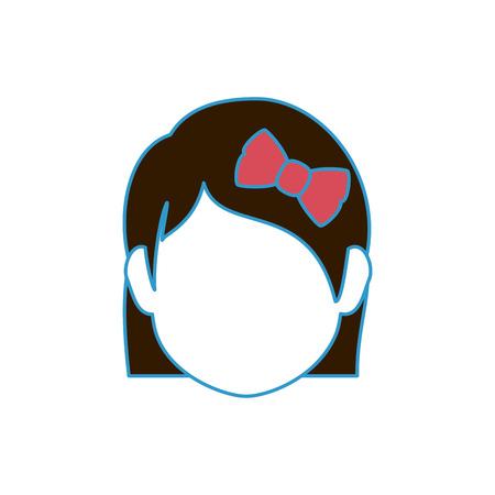 흰색 배경 위에 소녀 얼굴 아이콘 화려한 디자인 벡터 일러스트 레이 션 일러스트