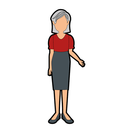 avatar old woman wearing casual clothes icon over white background colorful design vector illustration
