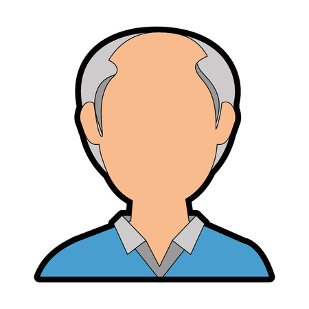 avatar old man icon over white background colorful design vector illustration