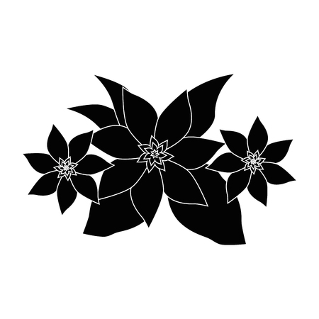 beautiful flowers with leaves icon over white background vector illustration Ilustrace