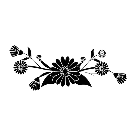 beautiful flowers with leaves icon over white background vector illustration Illusztráció