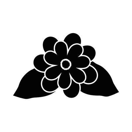 beautiful flowers with leaves icon over white background vector illustration Stock fotó - 80053039