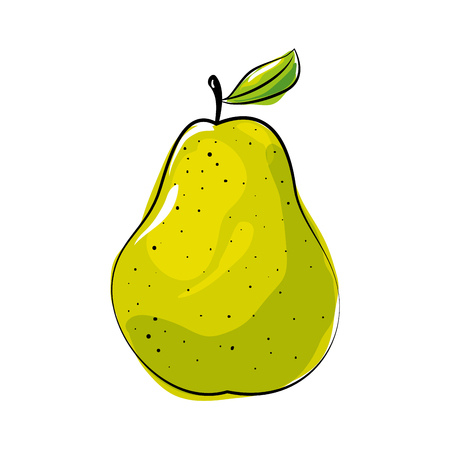 pear fruit icon over white background colorful design  vector illustration