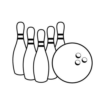 bowling pins and ball icon over white background vector illustration
