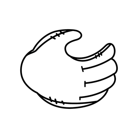 baseball glove icon over white background vector illustration