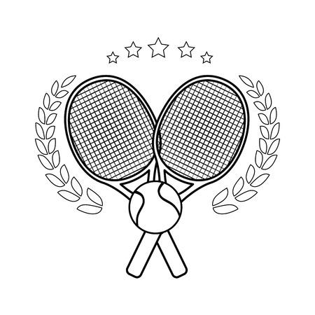 테니스 엠 블 럼 라켓 넘어와 흰색 배경 벡터 일러스트 레이 션 위에 공 아이콘