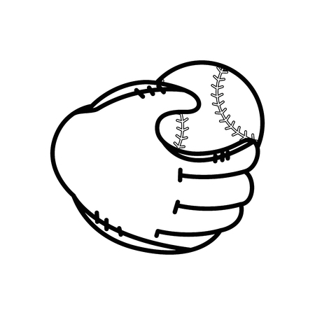 baseball ball and glove icon over white background vector illustration