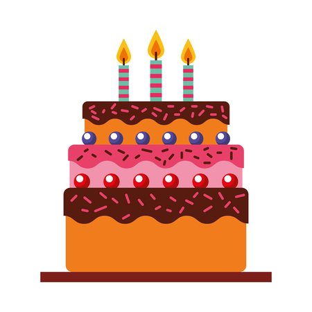 delicious cake brithday with candles vector illustration design