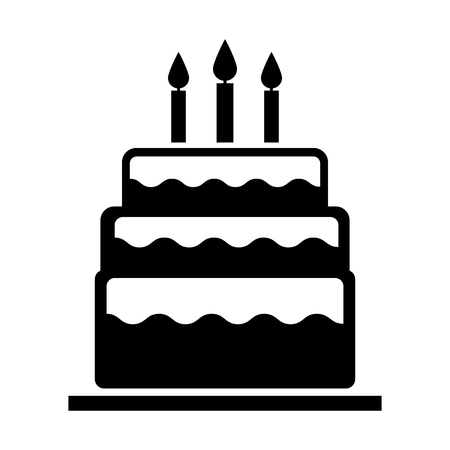 calorie: delicious cake brithday with candles vector illustration design