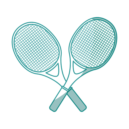 tennis rackets crossed icon over white background vector illustration
