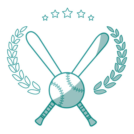 baseball emblem with bats crossed and ball icon over white background vector illustration