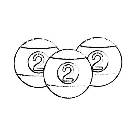 Biljartballen pictogram over witte achtergrond vectorillustratie Stock Illustratie