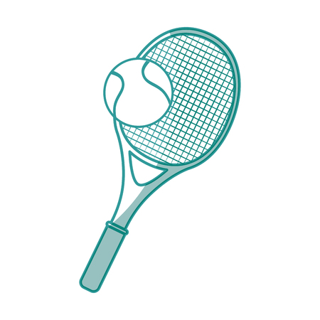 tennis racket and ball icon over white background vector illustration