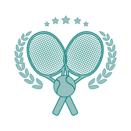 テニス ラケットでエンブレム交差し、白い背景ベクトル図のボールのアイコン