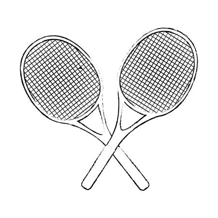 テニス ラケットは渡った白い背景ベクトル イラスト アイコン