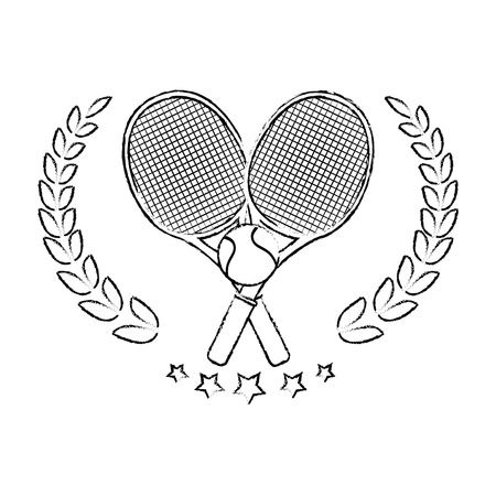 tennis emblem with  rackets crossed and ball icon over white background vector illustration