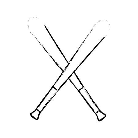 sportive: baseball bats crossed icon over white background vector illustration