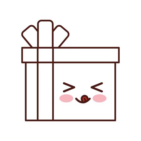 giftbox present  character vector illustration design Illustration
