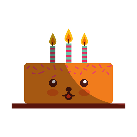 delicious cake birthday with candles   character vector illustration design
