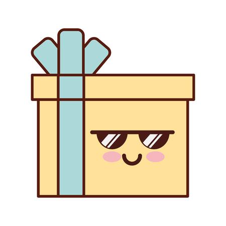 Gift box present character vector illustration design