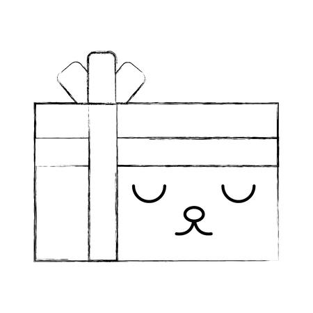 giftbox present kawaii character vector illustration design Stock Vector - 80111646