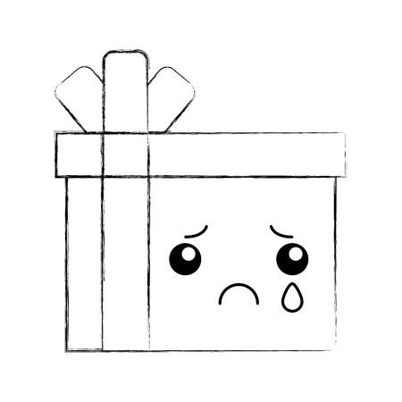 giftbox present kawaii character vector illustration design