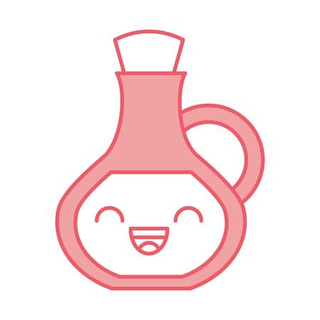 oil jar spa bottle kawaii character vector illustration design