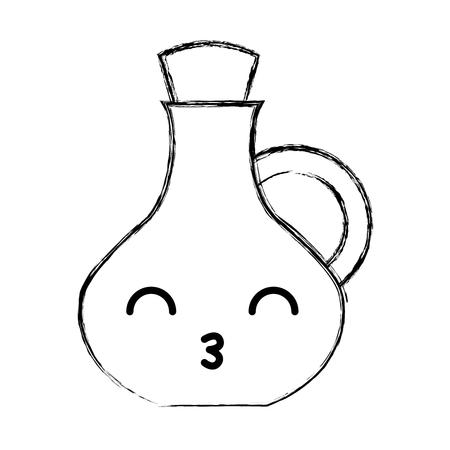 oil jar spa bottle kawaii character vector illustration design Banco de Imagens - 80109727