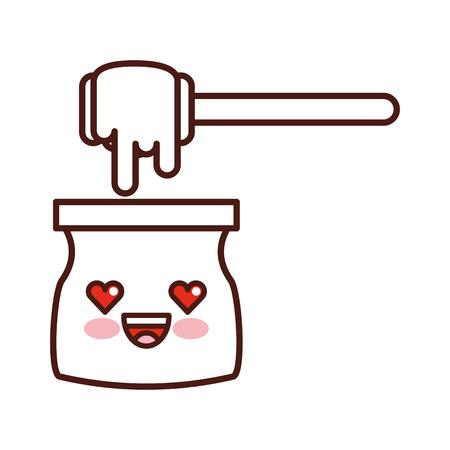 꿀 스틱 가와이 문자 벡터 일러스트 디자인