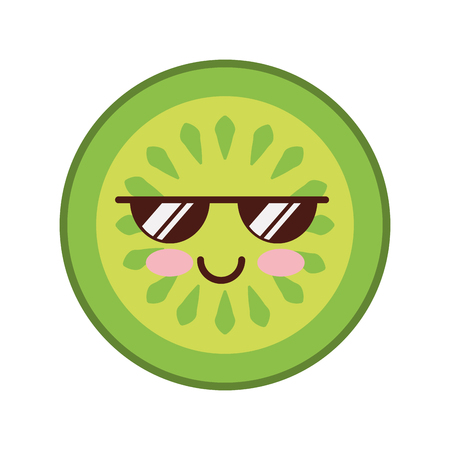 cucumber slice kawaii character vector illustration design Illustration