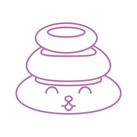 stones pile spa kawaii character vector illustration design