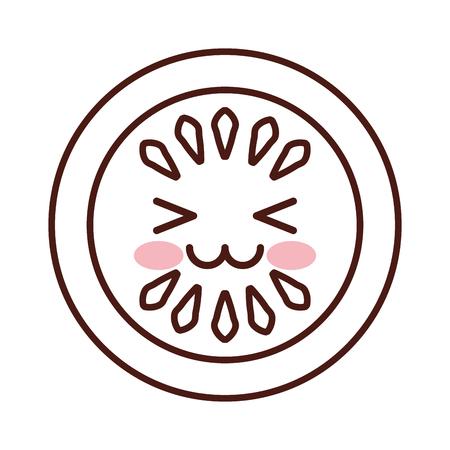 キュウリ スライス カワイイ文字ベクトル イラスト デザイン  イラスト・ベクター素材