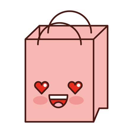 paper shopping bag kawaii character vector illustration design