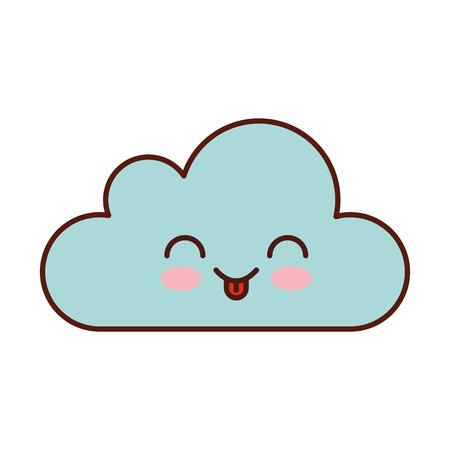 cloud computing kawaii character vector illustration design