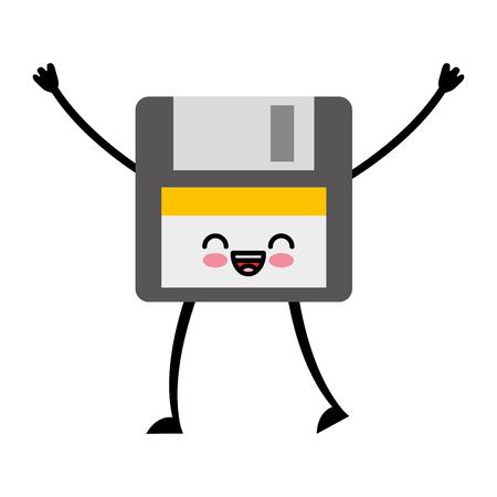 floppy disk kawaii character vector illustration design