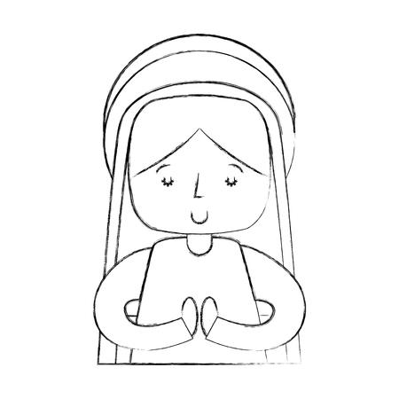 Mary Jungfrau Krippe Charakter Vektor-Illustration Design