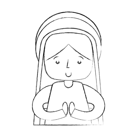 mary virgin manger character vector illustration design 向量圖像
