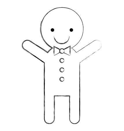 Ingwer Cookie Weihnachten Symbol Vektor-Illustration, Design, Standard-Bild - 80090696