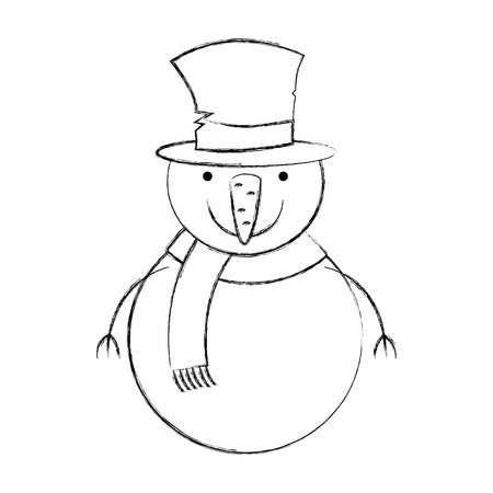 snowman christmas character icon vector illustration design