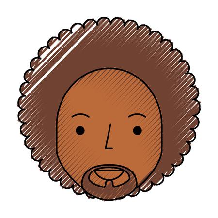 black man with afro vector illustration design