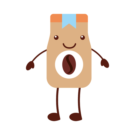 coffee toast bag kawaii character vector illustration design