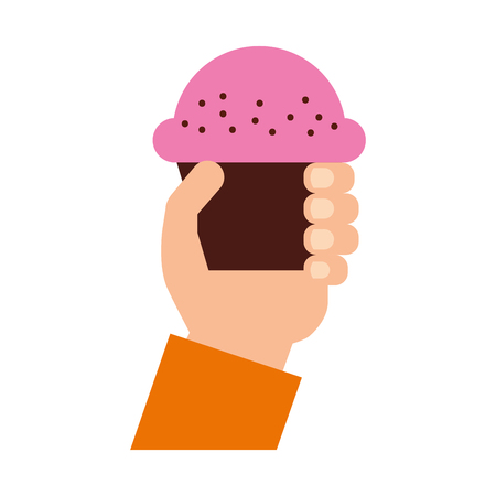 cupcakes isolated: hand human with cup cake sweet icon vector illustration design