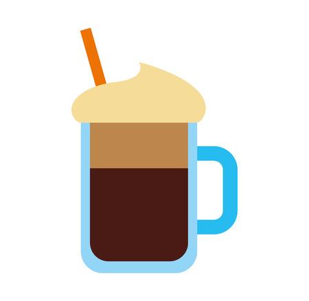 iced coffee glass icon vector illustration design Illustration