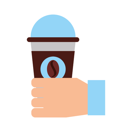 hand human with coffee plastic cup icon vector illustration design