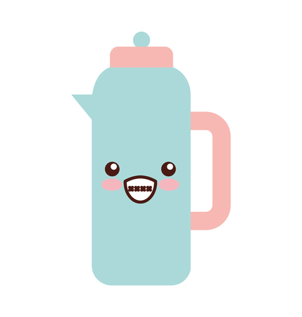 Coffee teapot kawaii character vector illustration design