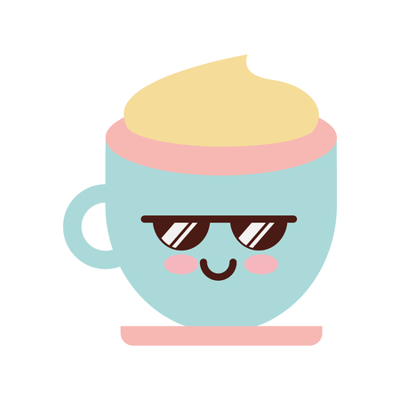 Coffee cup kawaii character vector illustration design Illustration